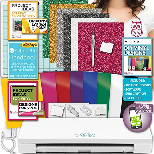 Silhouette Cameo 3 Machine Bundle Handbook Siser Glitter Heat Transfer Vinyl with Designs, Oracal Adhesive Backed Vinyl with Designs, Tools by Silhouette America