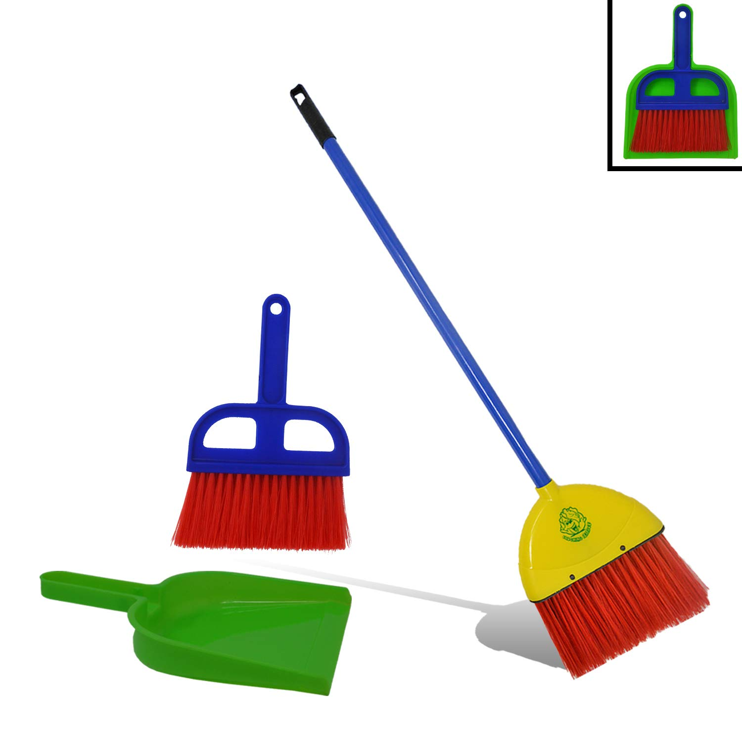 Childrens Broom and Dustpan Set by Laughing Lettuce - Toy Broom, Dustpan, and Mini Sweeper. Real Working broom. Mini Sweeper Clicks into Dustpan for Easy Storage. True Montessori Cleaning Set