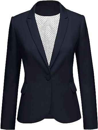 GRAPENT Women's Business Casual Pocket Work Office Blazer Back Slit Jacket Suit - blue - XXL: Amazon.co.uk: Clothing