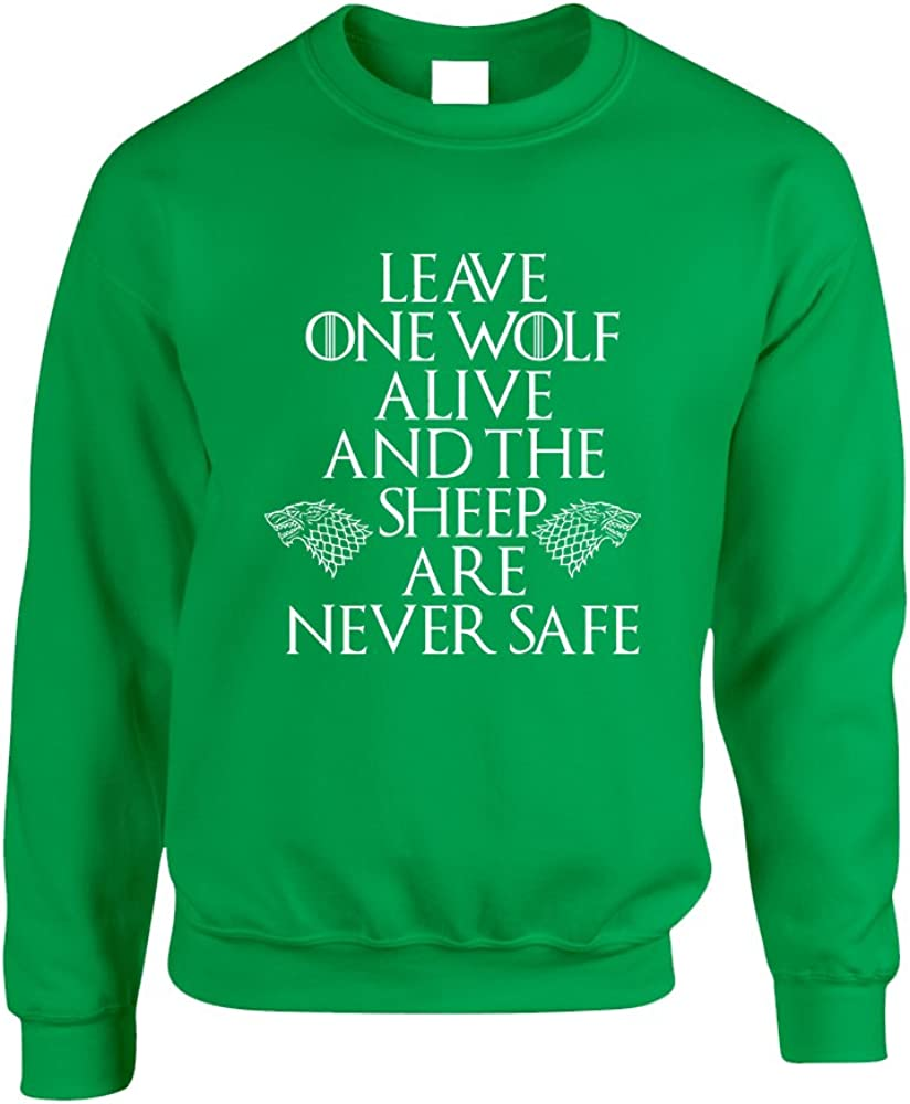 S, Irish Green Allntrends Adult Sweatshirt Leave One Wolf Alive Sheep Are Never Safe