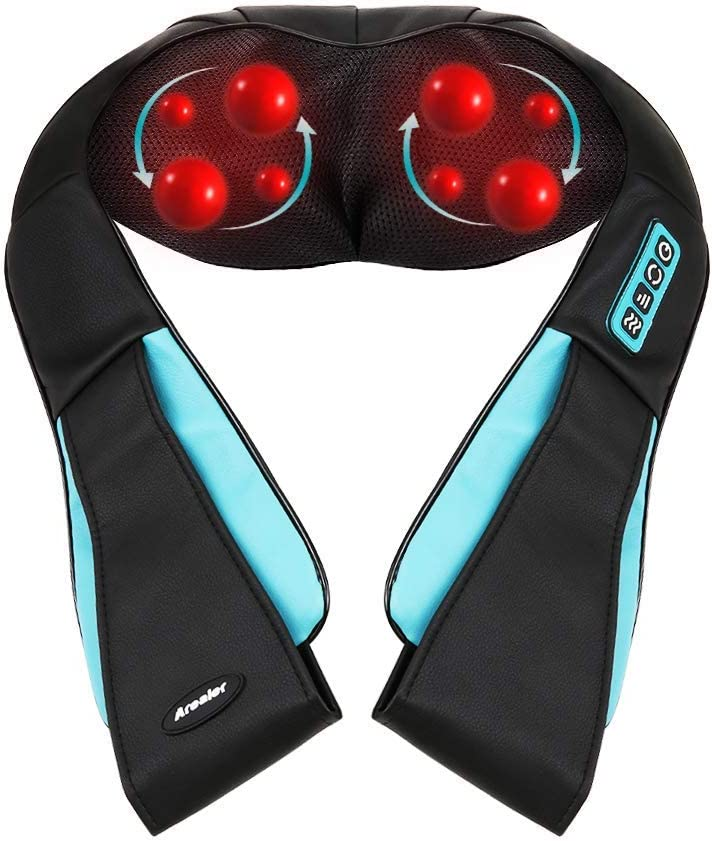 Arealer Neck Massager with Heat, Shiatsu Massager for Neck/Shoulder/Back/Leg, Shoulder Massager with Speed and Bi-Direction Control, Back Massager with Deep Kneading, Car/Office/Home, Black with Blue