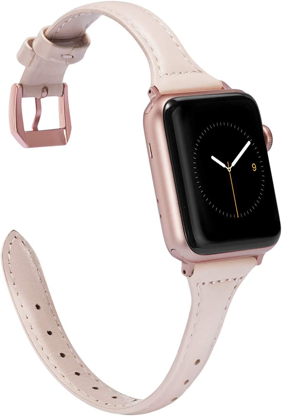 Wearlizer Nude Pink Thin Leather Compatible with Apple Watch Band 38mm 40mm for iWatch SE Womens Slim Strap Wristband Leisure Small Replacement (Rose Gold Metal Clasp) Series 6 5 4 3 2 1 Sport