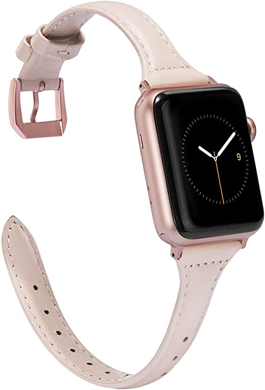 Amazon Com Wearlizer Nude Pink Thin Leather Compatible With Apple Watch Band 38mm 40mm For Iwatch Se Womens Slim Strap Wristband Leisure Small Replacement Rose Gold Metal Clasp Series 6 5 4 3 2 1 Sport