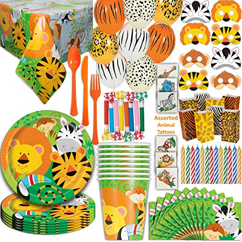 (Safari Animal Party 16 Guest - Great for Jungle or Zoo Themed Birthday - Plates, Cups, Napkins, Tablecloth, Balloons, Masks, Tattoos, Loot Bags, Candles, Blowouts, Cutlery - Spoons, forks, Knives)
