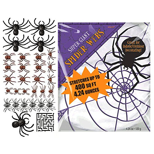 Super Giant White Polyester Spider Webs and 28 ct. Big Pack of Plastic Spiders Halloween Decoration Bundle - Includes 1 Maze Game Activity Card by ClassicVariety