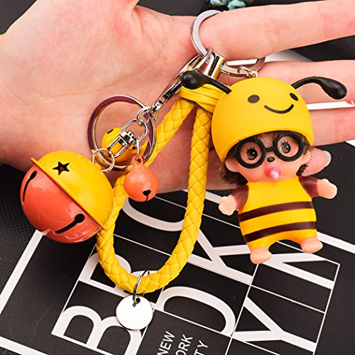 Doll Cartoon Key Ring Bag Charms With Golden Keyring, Cute Doll Keychain for Car Keyring, Charm Gift (Yellow) ()