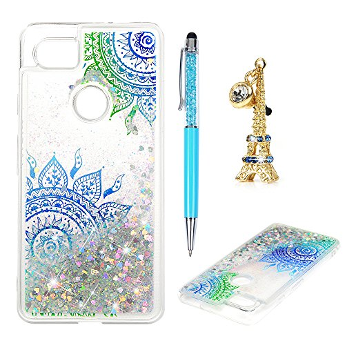Price comparison product image Google Pixel 2 XL Cover, Google Pixel 2 XL Glitter Case Flowing Liquid Floating Moving Shiny Luxury Fashion Bling Sparkle Ultra Soft TPU Bumper Skin for Google Pixel 2 XL, Totem Flower