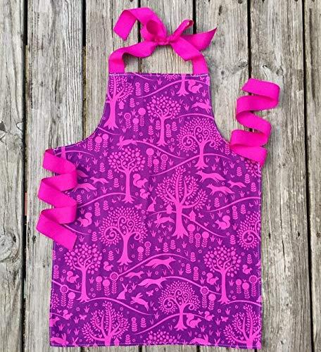 Purple Fox and Rabbit Tween Girl Gift Baking Art or Craft Apron from Sara Sews, Inc.