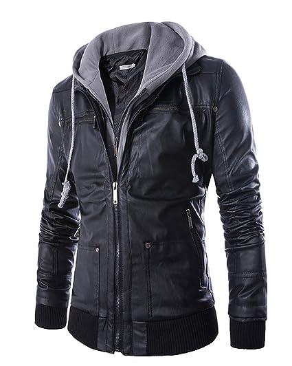 0f6a1edf958e16 Homme Blouson en Cuir PU avec Capuche Épais Jacket Veste Manteau en  Imitation Cuir  Amazon.fr  Vêtements et accessoires
