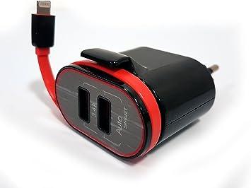 achat spécial homme haut de gamme authentique BrainWizz Mini - Chargeur USB Secteur Universel Double Sorties (17W / 3.4A)  avec câble Apple Lightning DE 23 cm intégré, Chargeur iPhone Aussi ...