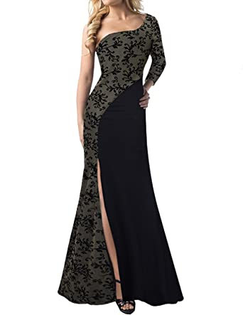 Black one shoulder lace long sleeve dress