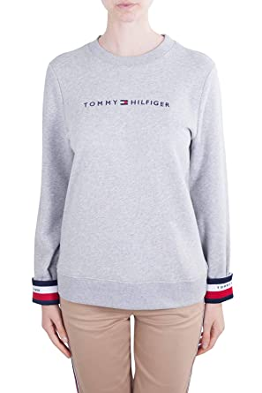 9c96277eacafc0 Tommy Hilfiger Women s Signature Tape Cuff Jumper Gray at Amazon Women s  Clothing store