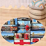 VROSELV Custom carpetHome Decor England Cityscape Red Telephone Booth Clock Tower Bridge on River British Flag with Flowers Bedroom Living Room Dorm Decor Blue Red Round 79 inches