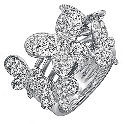 (Dazzlingrock Collection 1.35 Carat (ctw) 18k Round Diamond Ladies Butterfly Cocktail Right Hand Ring, White Gold, Size 7)