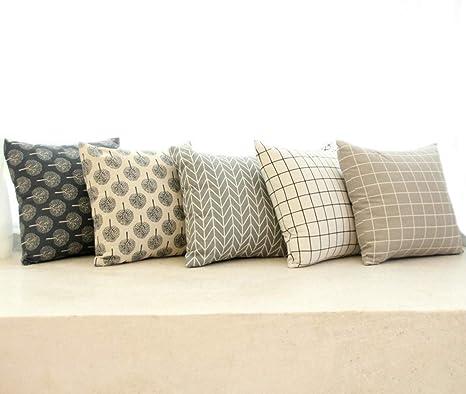 Amazon.com: MeGaLuv - Juego de 5 fundas de almohada de lino ...
