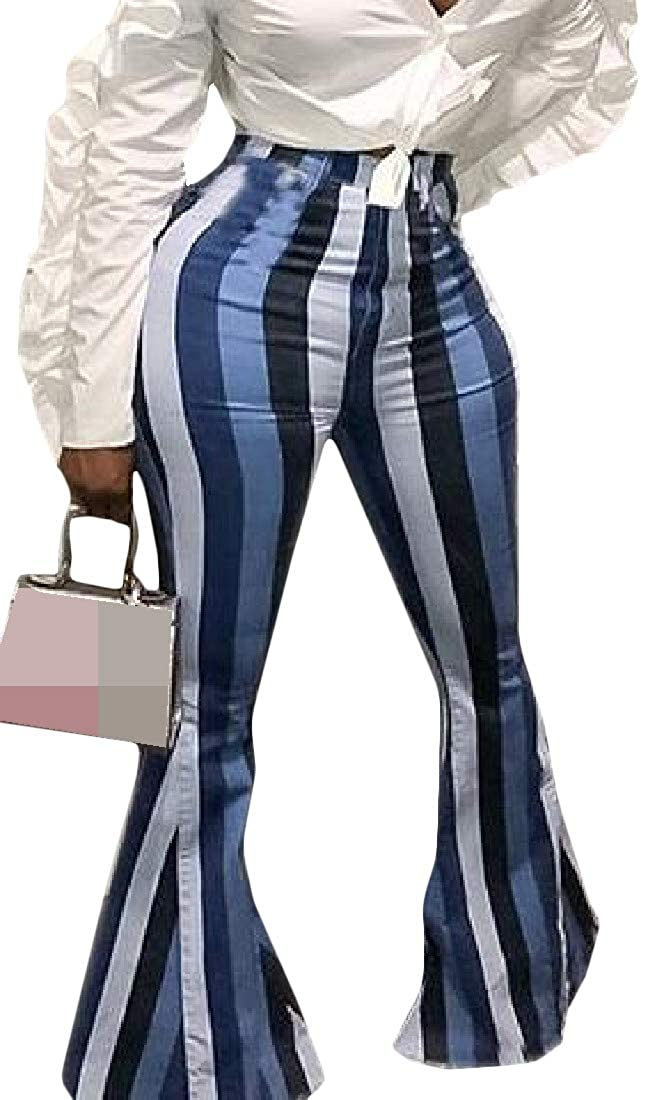 Cromoncent Womens Casual Skinny Stripe High Waist Bell Bottom Flare Pants