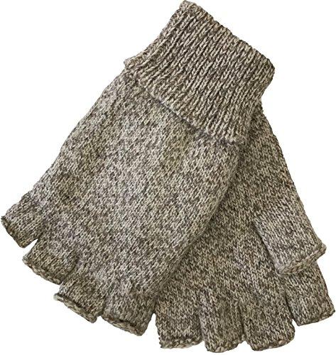 Mens Fingerless Ragg Wool Gloves With Inner Fleece Palm Lining (L/XL, Oatmeal)