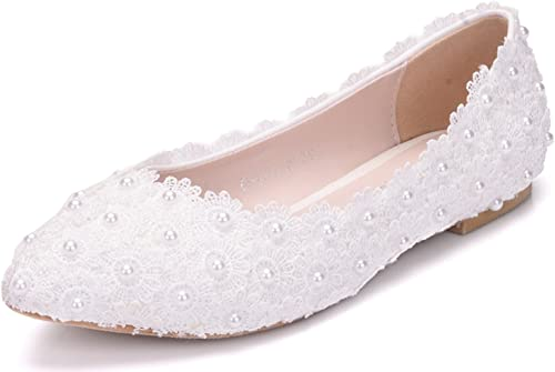 Amazon Com Melesh White Lace Flower Pearls Bride Flat Shoes For