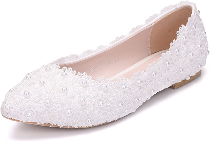Melesh White Lace Flower Pearls Bride