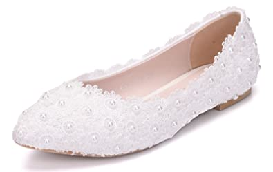 725e8abff2ae Melesh White Lace Flower Pearls Bride Flat Shoes for Wedding (6 B(M)