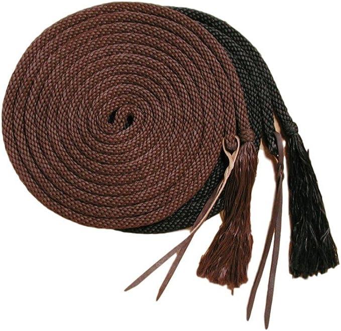 Showman 21/' Round Nylon Braided MECATE REINS Horse Hair Tassel /& Leather Popper