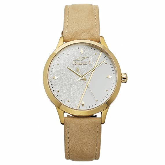 Guarda S New Classic de mujer reloj de pulsera Shiny Oro analógico de cuarzo piel de terciopelo beige - gs000b de c17d: Amazon.es: Relojes