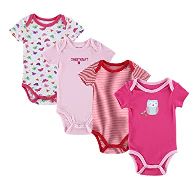 e393fddc7dfb Fairy Baby Cute Baby Vests Short Sleeve Bodysuits Pack of 4 for Boys ...