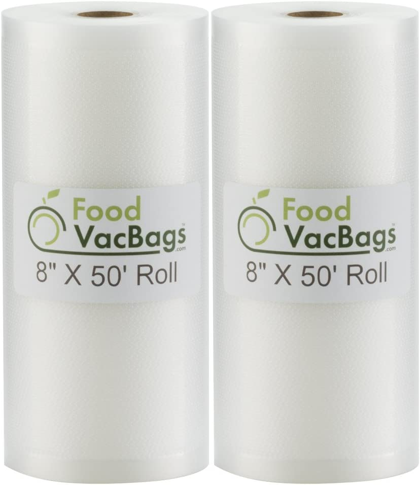 """SALE! Two 8""""X50' Rolls of FoodVacBags 4 mil Commercial Grade Vacuum Sealer Bags - Make Your Own Size Bag! - for Foodsaver, Seal-A-Meal, plus other machines"""