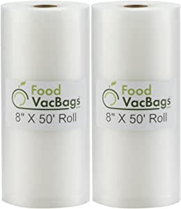"SALE! Two 8""X50' Rolls of FoodVacBags 4 mil Commercial Grade Vacuum Sealer Bags - Make Your Own Size Bag! - for Foodsaver, Seal-A-Meal, plus other machines"