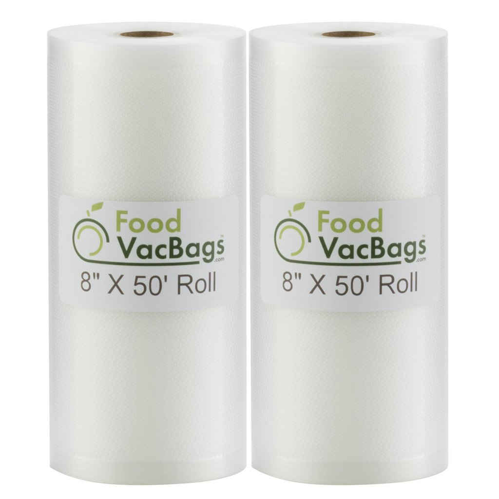 SALE! Two 8''X50' Rolls of FoodVacBags 4 mil Commercial Grade Vacuum Sealer Bags - Make Your Own Size Bag! - for Foodsaver, Seal-A-Meal, plus other machines by FoodVacBags