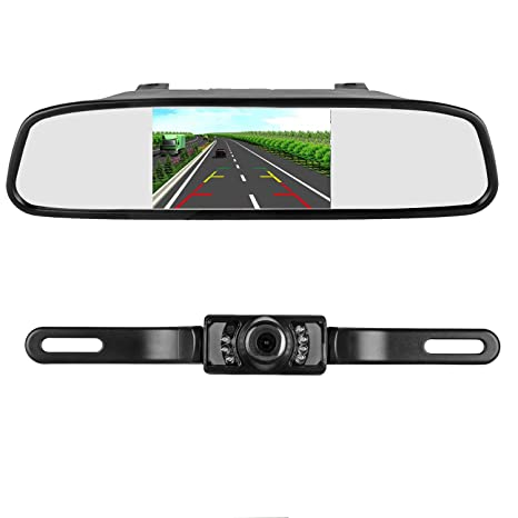 iStrong Backup Camera and Mirror Monitor Kit for  Truck/Car/Pickup/Camper/SUV Mount Windshield Optional IP68 Waterproof  Connecting Single Power