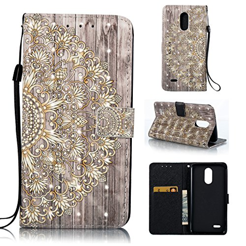 LG Stylo 3 Wallet Case,HAOTP 3D Beauty Luxury Fashion PU Flip Stand Credit Card ID Holders Wallet Leather Case Cover for LG Stylo 3/Stylo 3 Plus/LG LS777 - Gold Mandala Floral