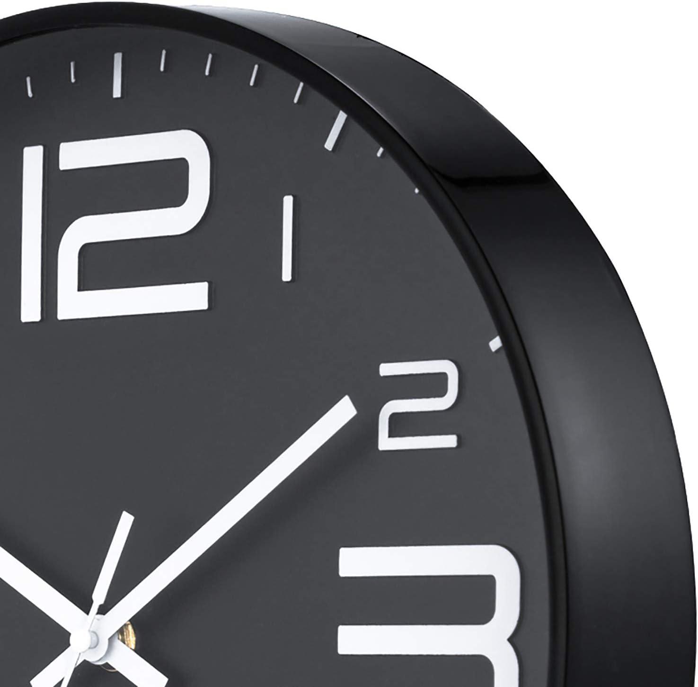 Diam/ètre 30cm ufengke Horloge Murale Silencieuse Chiffre 3D Noir Pendule Quartz Deco Industrielle pour Salon Chambre