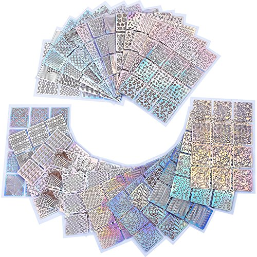 eBoot 288 Pieces 96 Designs Nail Vinyls Nail Stencil Sticker Sheets Set for Nail Art Design, 24 Sheets ()