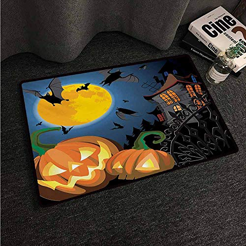 HCCJLCKS Thin Door mat Halloween Gothic Halloween Haunted House Party Theme Design Trick or Treat for Kids Print Easy to Clean Carpet W20 xL31 Multicolor