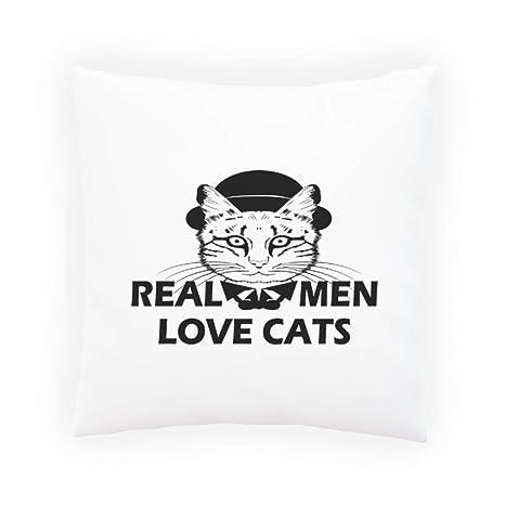Los hombres reales aman a los gatos La cabeza divertida del gato grande novedad Almohada decorativa