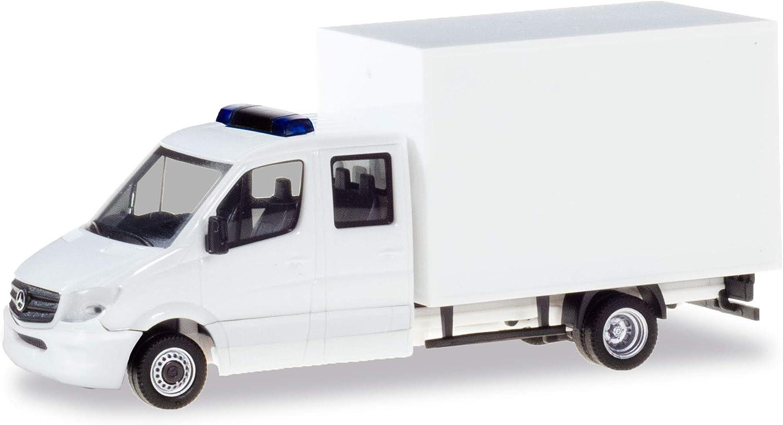 herpa Doppelkabine mit Koffer, weiß LKW Zum Basteln und Sammeln Minikit Mercedes-Benz Sprinter Doble Cabina con Maleta, Blanco Camión para retocar y coleccionar, Color (013666)