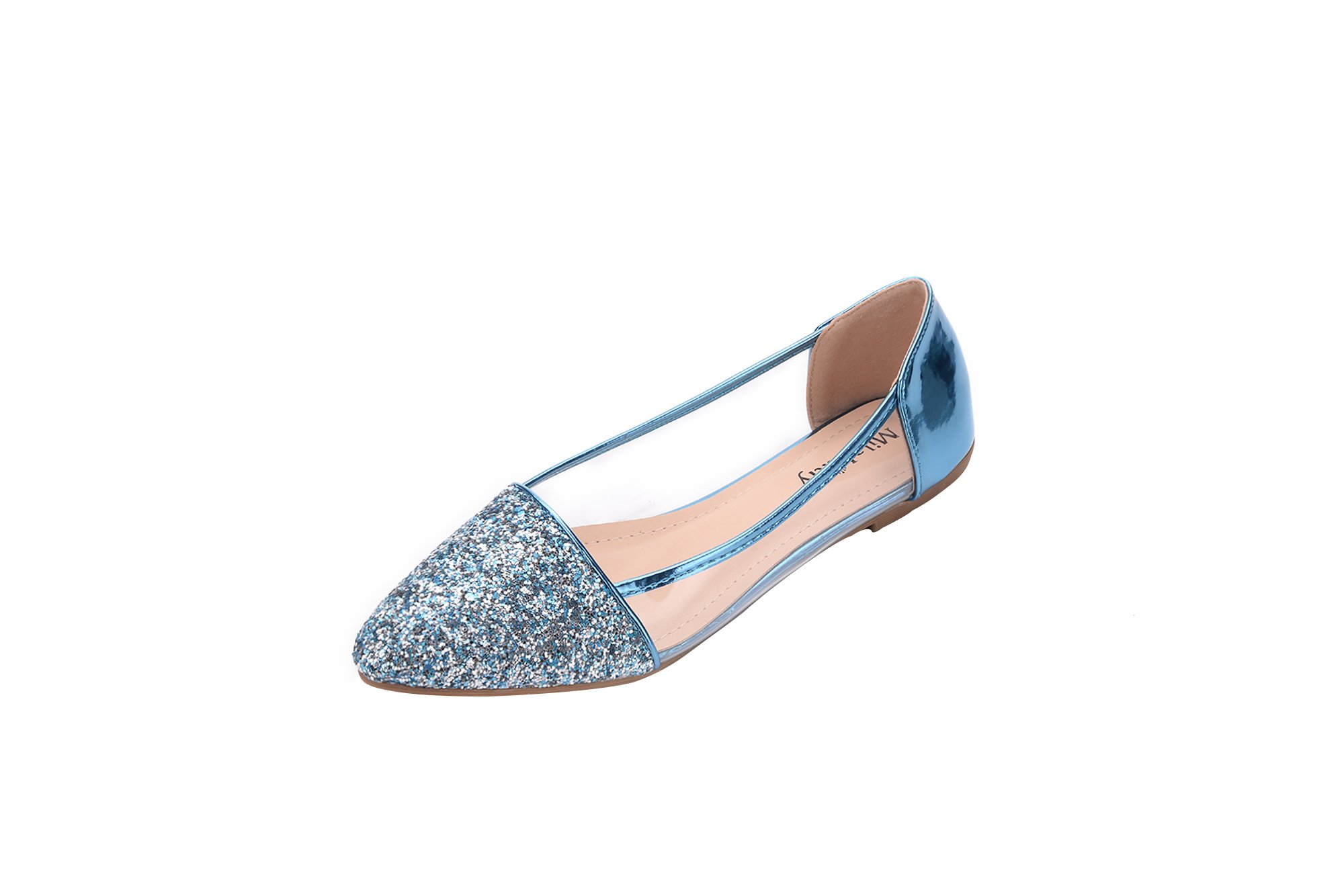 Mila Lady (Mavis Fashion New Sparkling Embellish Glitter Slip Loafer Ballet Flat Shoes. BLUE7.5