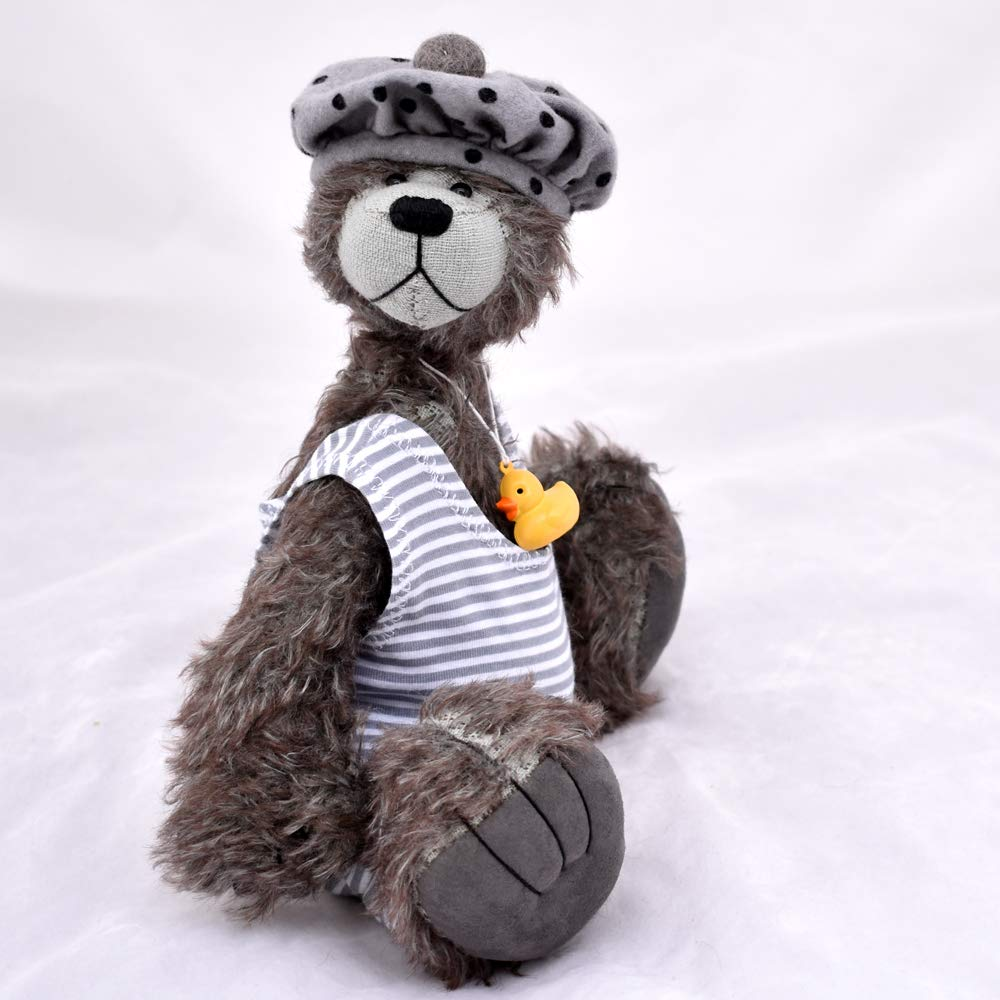 Splodge Teddy Bear Grey Tipped Mohair Artist Collectable OOAK 10 inches