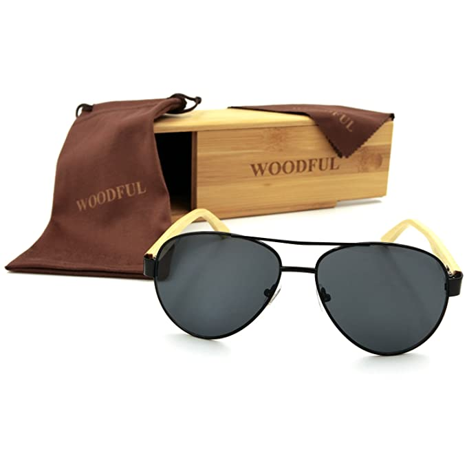 Amazon.com: woodful Hombres Mujeres Aviator anteojos de sol ...