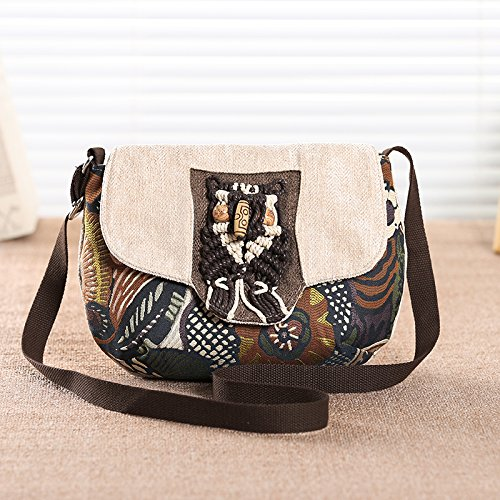 Crossbody Bag Canvas BISSER Bag Small Crossbody Girl Bag Bag Bag Khaki Messenger Wind Mini National vintage Small Art Women'S flower Messenger Mini YdUTdw