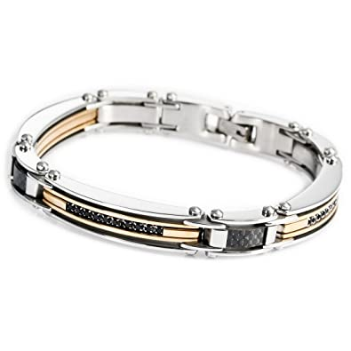 men products d accented fiber steel black diamond and stainless mens s bracelet carbon