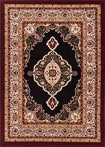 Well Woven Persian Grand Medallion Black Area Rug 5×7 5 x 7 2 with Plain Center Field Deep Red Color Soft Pile Classic Traditional