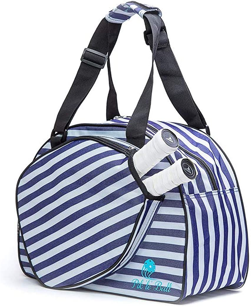 """Blue & White Striped Women's Duffle Bag   Includes a fitted a""""paddle case"""" specifically designed to store and protect your pickleball paddles.   Made Exclusively For Pickleball!"""