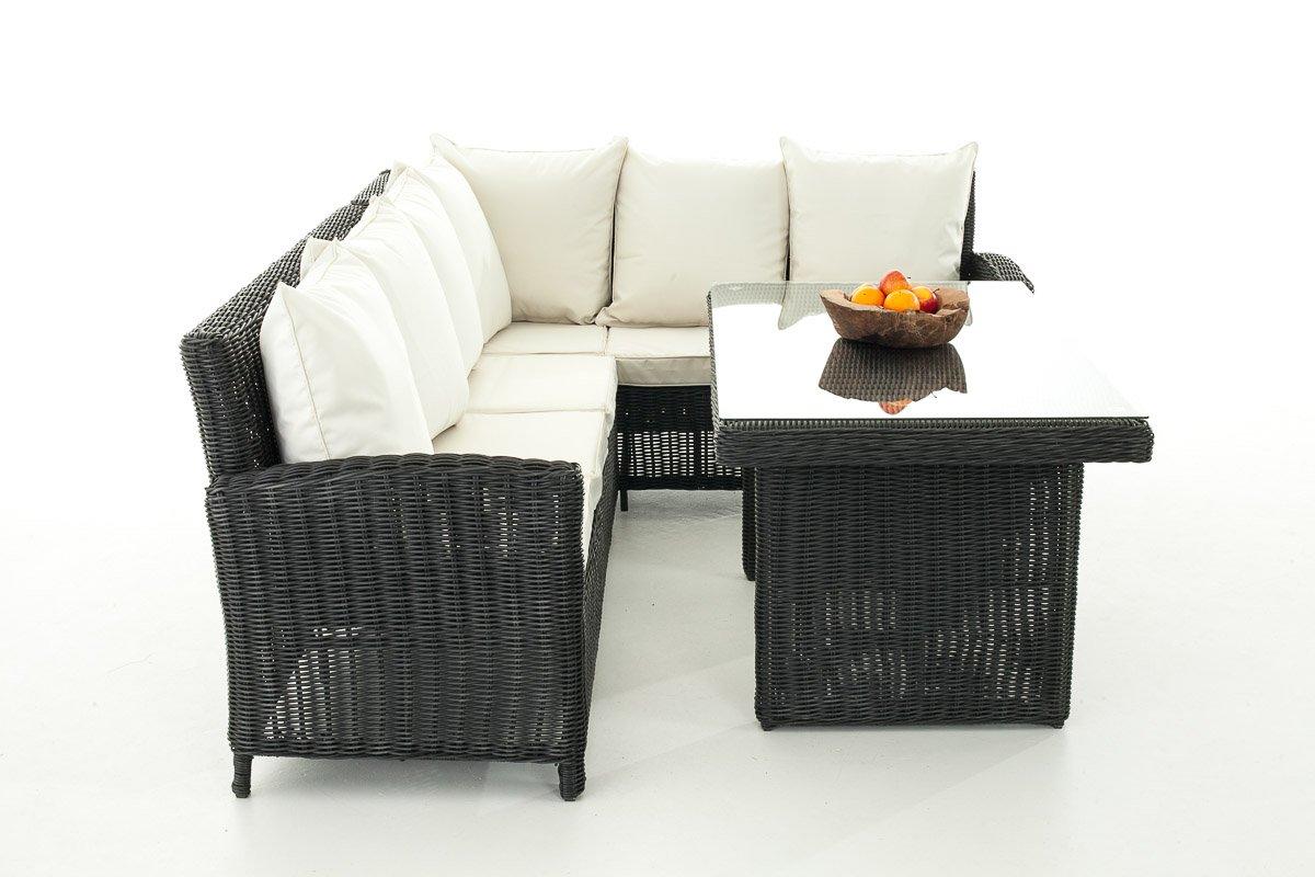 Sofa-Garnitur CP056, Lounge-Set Gartengarnitur, Poly-Rattan ~ Kissen creme, schwarz