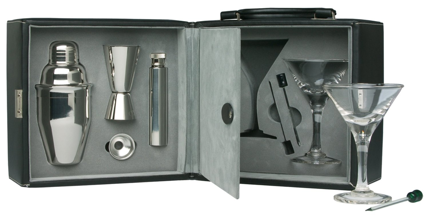 Martini Bar Set with Case, 9 piece set (NO INTERNATIONAL SHIPPING AVAILABLE)