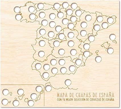 Regalo Original Mapa de Madera de chapas de Cerveza de España para Viajes 45x55cm