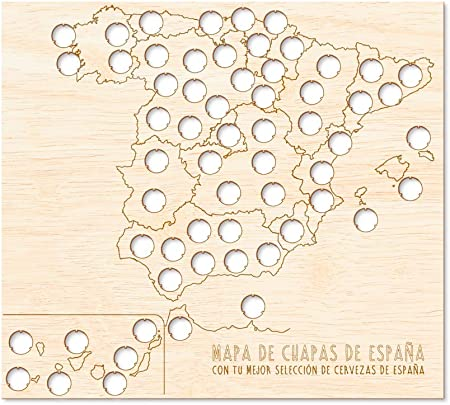 Regalo Original Mapa de Madera de chapas de Cerveza de España para Viajes 45x55cm: Amazon.es: Hogar
