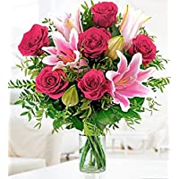 Rose and Lily Bouquet - Free Chocs - Next Day Flower Delivery - Flower Delivery - Birthday Flowers - Flowers for Her - Prestige Flowers