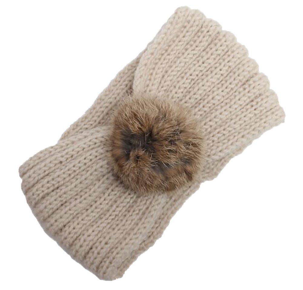 Pompon Serre-Tête Bandeau Cheveux Femme Hiver Tricoté Elastique Couvre-Oreille Bandeau Bonnet Gris clair Haifly
